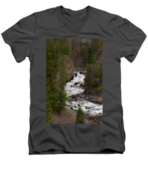 Men's V-Neck T-Shirt featuring the photograph Firehole Canyon by Steve Stuller