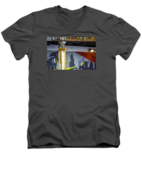 Fireman At Addison And Lincoln V4 Men's V-Neck T-Shirt by Raymond Kunst