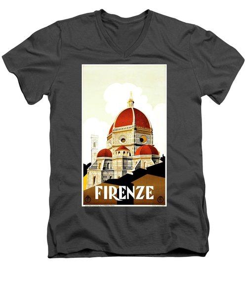 Firenze Travel Poster 1930 Men's V-Neck T-Shirt