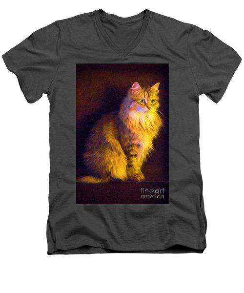 Fireside Feline Men's V-Neck T-Shirt
