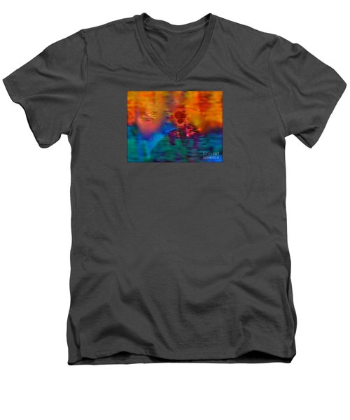 Men's V-Neck T-Shirt featuring the painting Firewall Berries by Patricia Schneider Mitchell