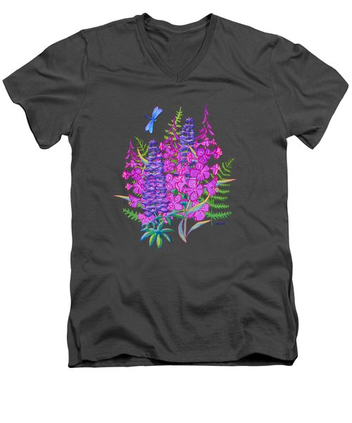Fireweed And Lupine T Shirt Design Men's V-Neck T-Shirt by Teresa Ascone