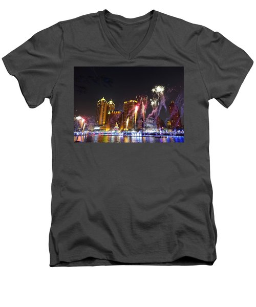 Men's V-Neck T-Shirt featuring the photograph Fireworks Along The Love River In Taiwan by Yali Shi