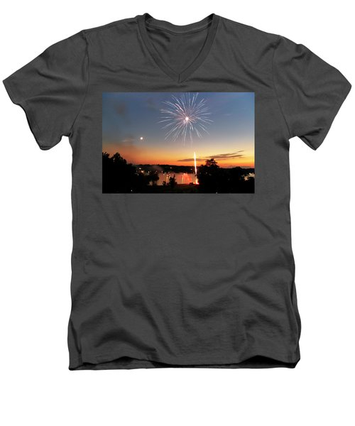 Fireworks And Sunset Men's V-Neck T-Shirt