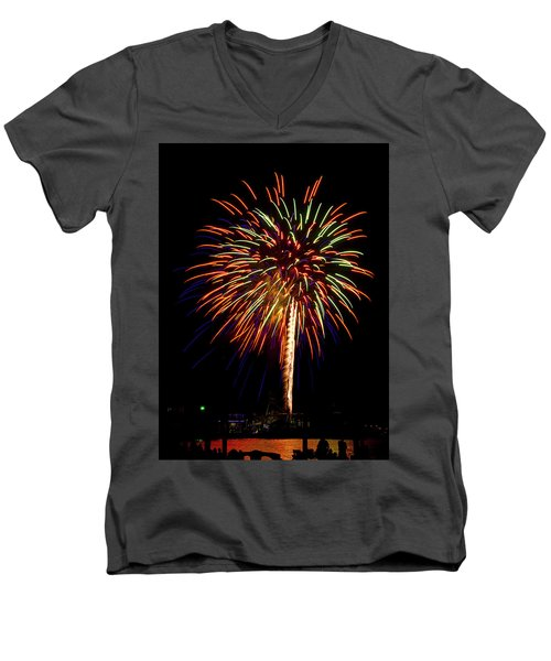 Men's V-Neck T-Shirt featuring the photograph Fireworks by Bill Barber