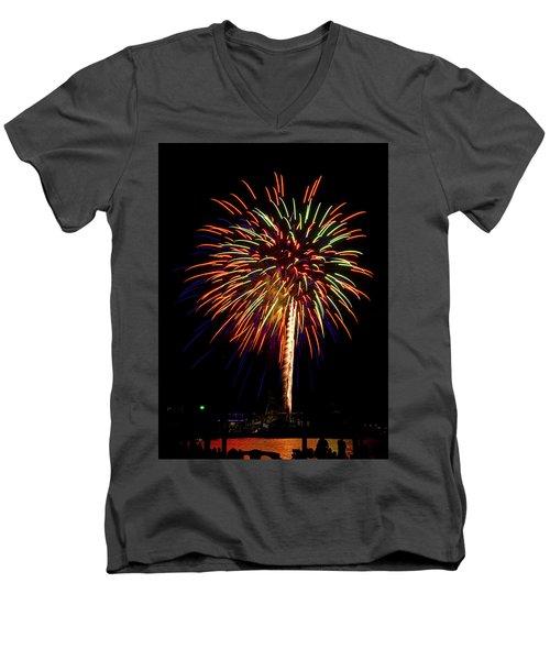 Fireworks Men's V-Neck T-Shirt by Bill Barber