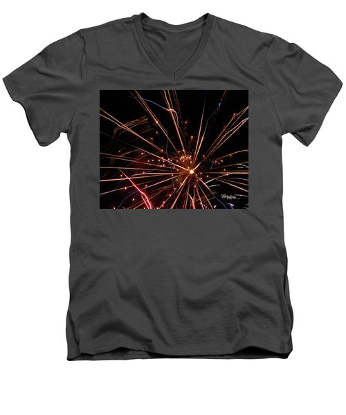 Men's V-Neck T-Shirt featuring the photograph Fireworks Blast #0703 by Barbara Tristan