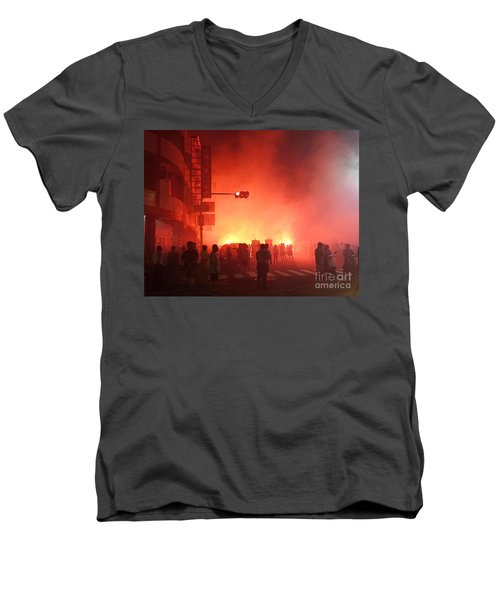 Fireworks During A Temple Procession Men's V-Neck T-Shirt