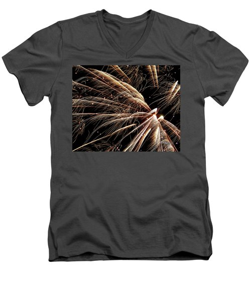 Men's V-Neck T-Shirt featuring the photograph Fireworks Evolution #0710 by Barbara Tristan