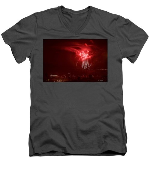 Fireworks In Red And White Men's V-Neck T-Shirt