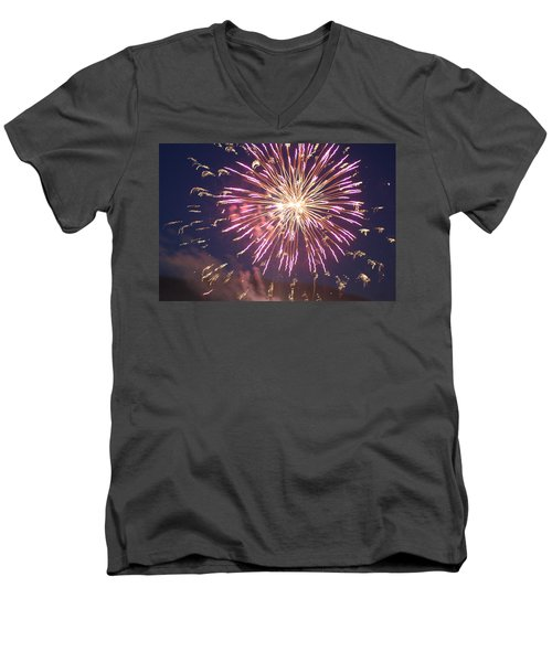 Men's V-Neck T-Shirt featuring the digital art Fireworks In The Park 2 by Gary Baird
