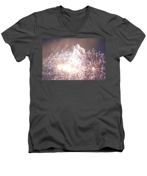 Men's V-Neck T-Shirt featuring the digital art Fireworks In The Park 6 by Gary Baird