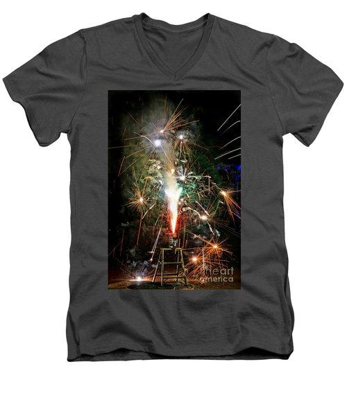 Men's V-Neck T-Shirt featuring the photograph Fireworks by Vivian Krug Cotton