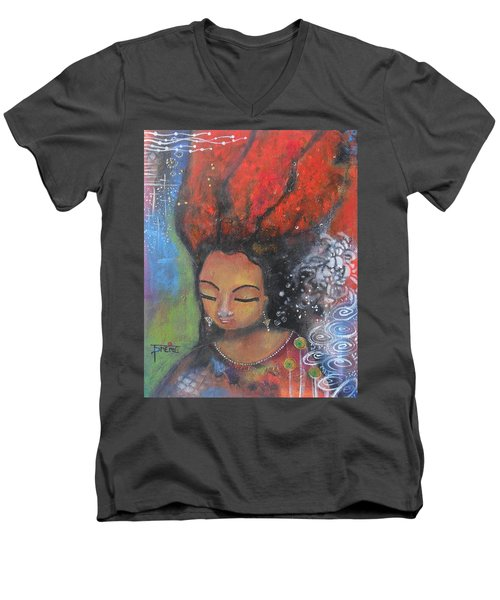 Men's V-Neck T-Shirt featuring the painting Firey Hair Girl by Prerna Poojara