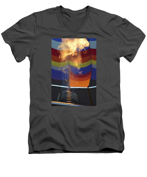 Firing Up Men's V-Neck T-Shirt by Linda Geiger