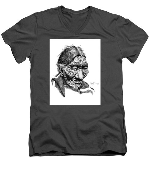 First 100 Years Men's V-Neck T-Shirt by Lawrence Tripoli