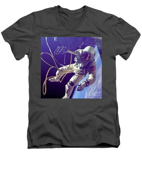 First American Walking In Space, Edward Men's V-Neck T-Shirt