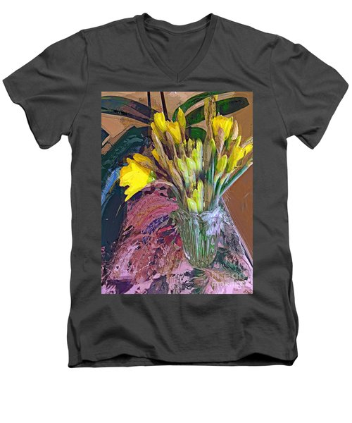 Men's V-Neck T-Shirt featuring the digital art First Daffodils by Alexis Rotella