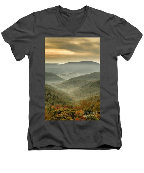 First Day Of Fall Highlands Men's V-Neck T-Shirt