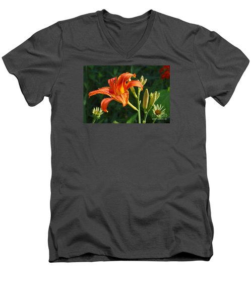 First Flower On This Lily Plant Men's V-Neck T-Shirt by Steve Augustin
