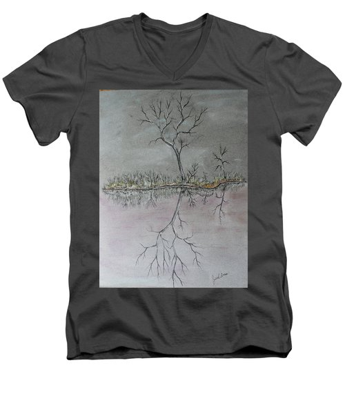 Men's V-Neck T-Shirt featuring the drawing First Frost by Jack G Brauer
