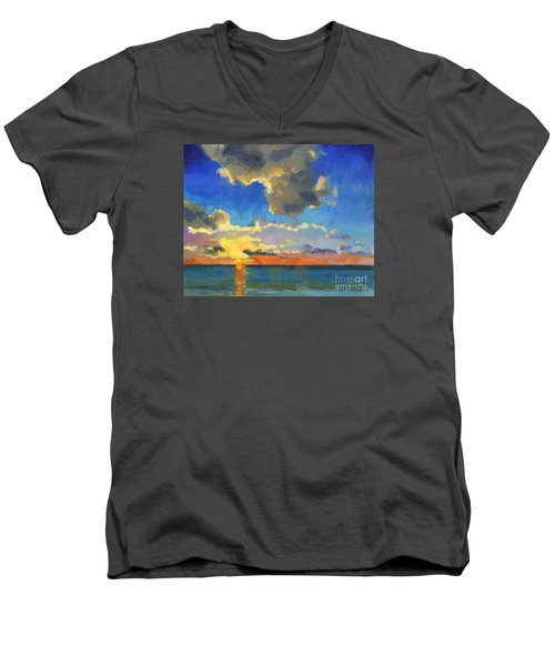 Men's V-Neck T-Shirt featuring the painting First Light by Nancy  Parsons