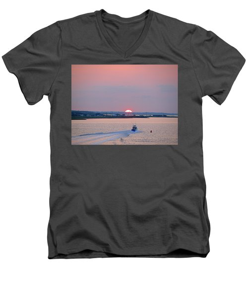 Men's V-Neck T-Shirt featuring the photograph First Light by  Newwwman