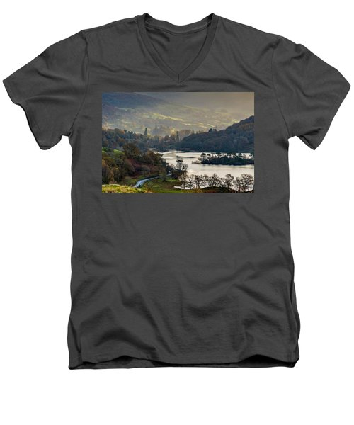 First Light Over Rydal Water In The Lake District Men's V-Neck T-Shirt