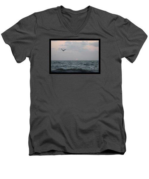 Men's V-Neck T-Shirt featuring the photograph First Light by Robert Banach