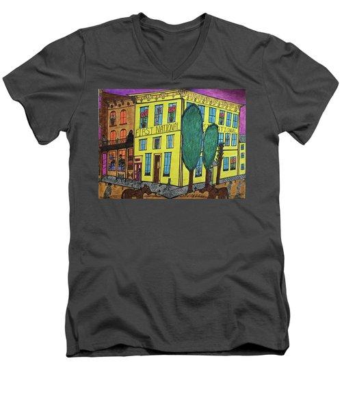 First National Hotel. Historic Menominee Art. Men's V-Neck T-Shirt by Jonathon Hansen