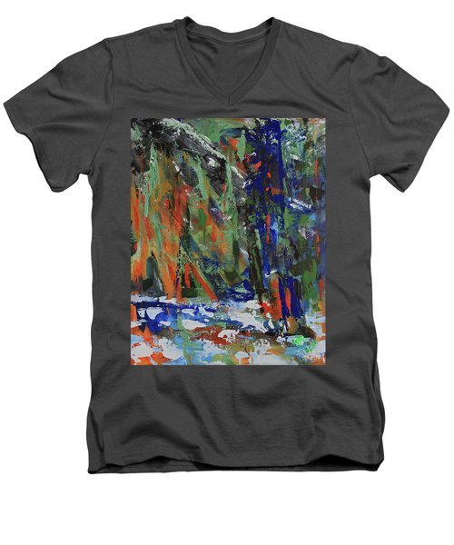 Men's V-Neck T-Shirt featuring the painting First Snow Over Tenaya Creek by Walter Fahmy