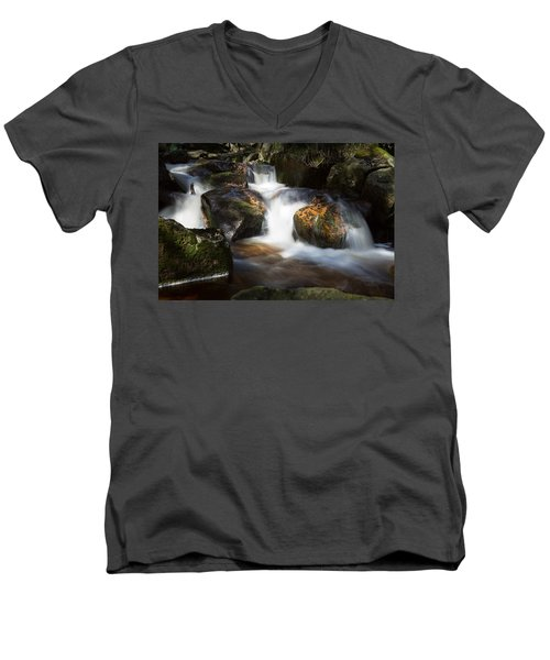 first spring sunlight on the Warme Bode, Harz Men's V-Neck T-Shirt