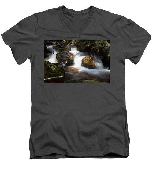 first spring sunlight on the Warme Bode, Harz Men's V-Neck T-Shirt