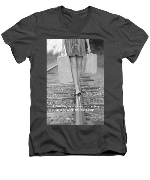 Men's V-Neck T-Shirt featuring the photograph First Step by Barbara West