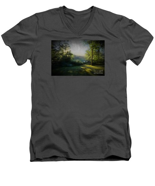 Men's V-Neck T-Shirt featuring the painting First Sun by Mim White