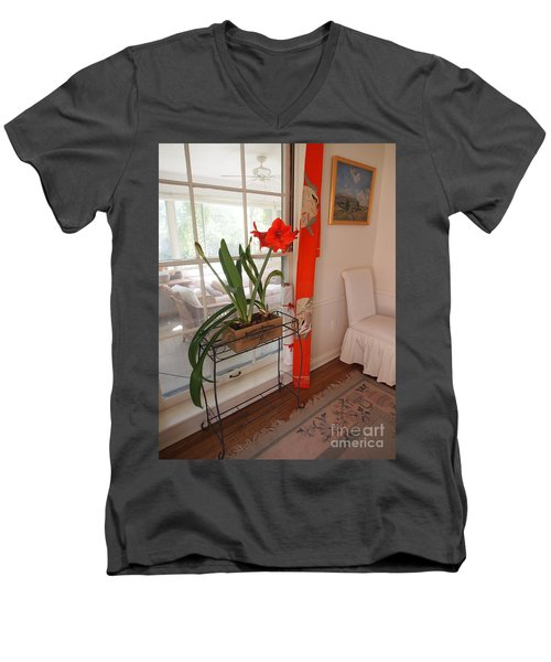 First There Was Red Men's V-Neck T-Shirt by Nancy Kane Chapman