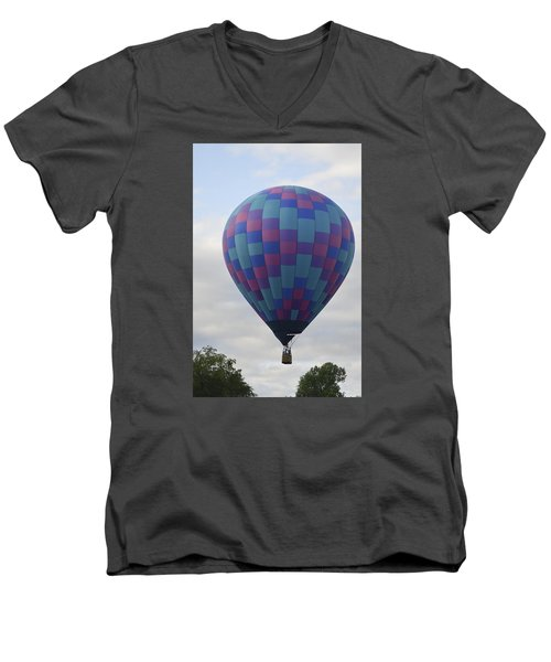 Men's V-Neck T-Shirt featuring the photograph First To Take Off For The Atlantic by Linda Geiger