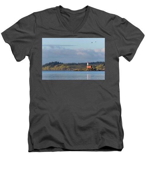 Fisgard Lighthouse At Dawn Men's V-Neck T-Shirt