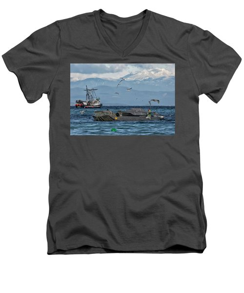 Men's V-Neck T-Shirt featuring the photograph Fish Are Flying by Randy Hall