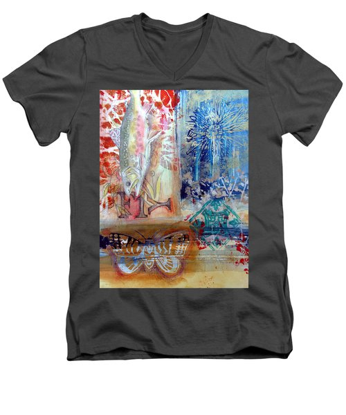 Men's V-Neck T-Shirt featuring the mixed media Fish Collage #1 by Rose Legge