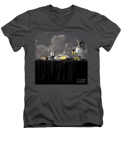 Fish Diner In Silver Men's V-Neck T-Shirt