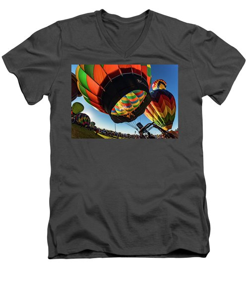 Men's V-Neck T-Shirt featuring the photograph Fish Eye View Of The Balloon Races by Janis Knight