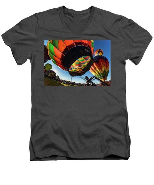 Fish Eye View Of The Balloon Races Men's V-Neck T-Shirt