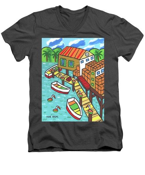 Fish House-cedar Key Men's V-Neck T-Shirt