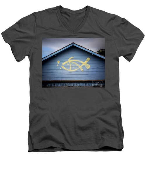 Men's V-Neck T-Shirt featuring the photograph Fish House by Perry Webster