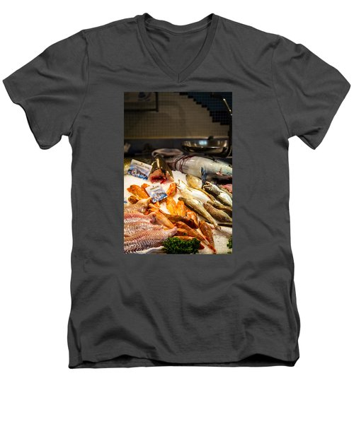Men's V-Neck T-Shirt featuring the photograph Fish Market by Jason Smith