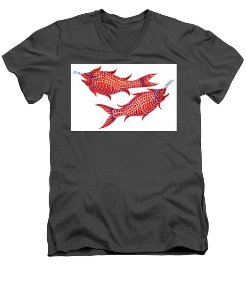 Fish Pisces Men's V-Neck T-Shirt by Jane Tattersfield