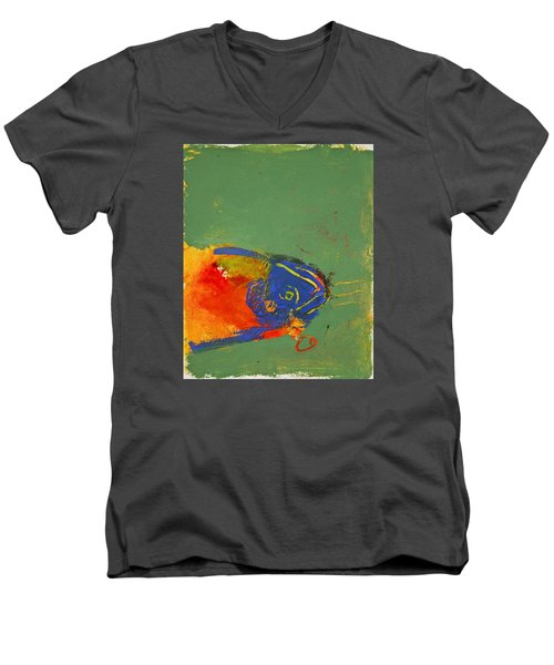 Fish Pondering The Anomaly Of Mans Anamnesis Men's V-Neck T-Shirt by Cliff Spohn