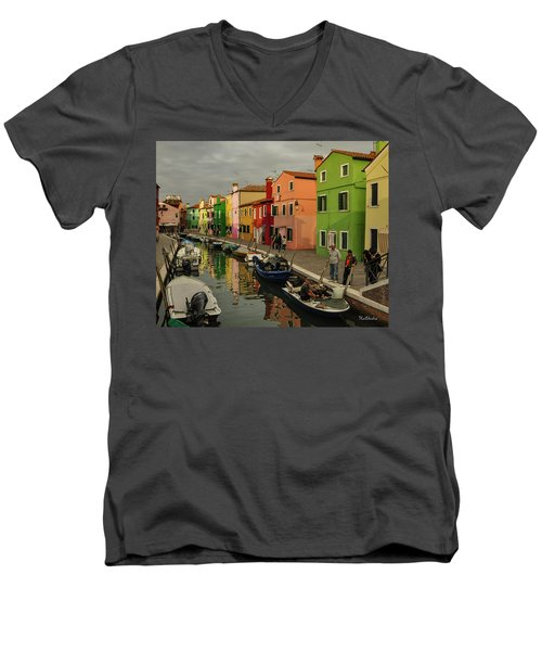Men's V-Neck T-Shirt featuring the photograph Fisherman At Work In Colorful Burano by Tim Kathka