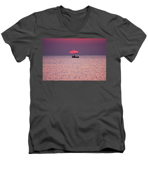 Men's V-Neck T-Shirt featuring the photograph Fisherman by Bruno Spagnolo